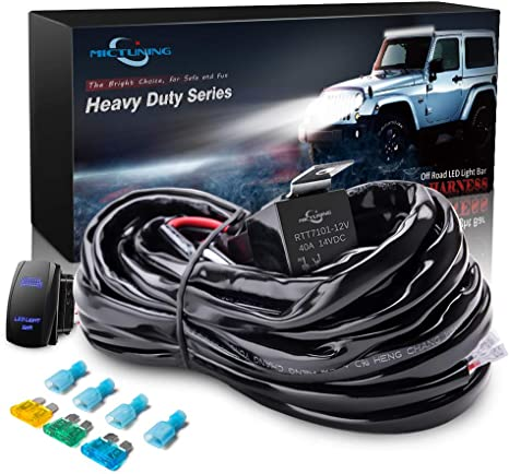 MICTUNING HD 14AWG 300w LED Light Bar Wiring Harness Fuse 40 Amp Relay on