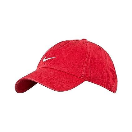 Nike Tapa Gorro Heritage 86 Swoosh Flex Cap, mujer hombre unisex, rojo