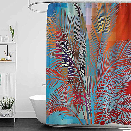 Shower Curtains for Bathroom with Psychedelic,Palm Tree Leaves Fantasy Island Theme Modern Pixels Design Summer Party,Turquoise Red W48 x L84,Shower Curtain for Women