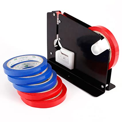 Máquina para cierra bolsas manual para frutería supermercado + 6pcs Cinta para cerrar bolsas planas cinta adhesiva 12mm de ancho Bag Neck Sealer