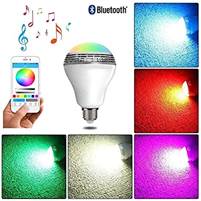 Deep Dream Wireless Bluetooth Smart LED Light Bulb Smartphone Controlled Dimmable Multicolored Indoor Outdoor E26/E27 Base Audio Music Speaker RGB Lamp for Party Bar Club Celebration Bedroom Dinners from Deep Dream