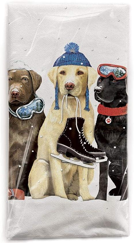 Winter Retriever Trio Dog  Flour Sack Dish Tea Towel Mary Lake Thompson