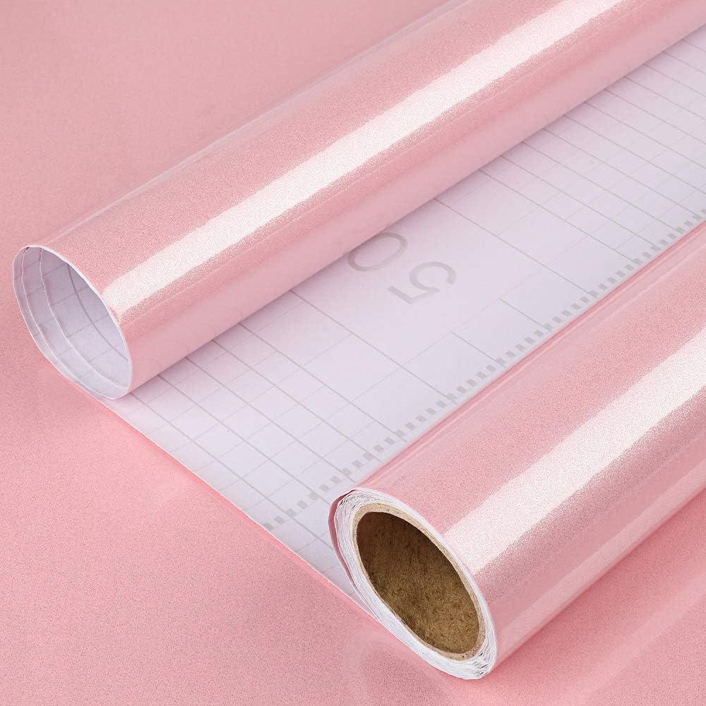 "Juyudow 2-PCS 196.86"" x 15.75"" Self Adhesive Wallpaper Kitchen Peel Stick Film Stickers Waterproof PVC Vinyl for Cabinet Countertop Furniture Home Decor (Pink)"