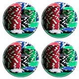 MSD Round Coasters Non-Slip Natural Rubber Desk Coasters design 24878200 colorful poker chips on a green casino table