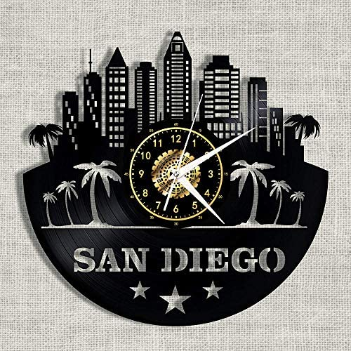 SKYTY Vinyl Wanduhr San Diego-Little Italy - Retro Atmosphäre Silhouette Rekord handgemachtes Geschenk Cool Home Art Decor Keine LED 12 Zoll