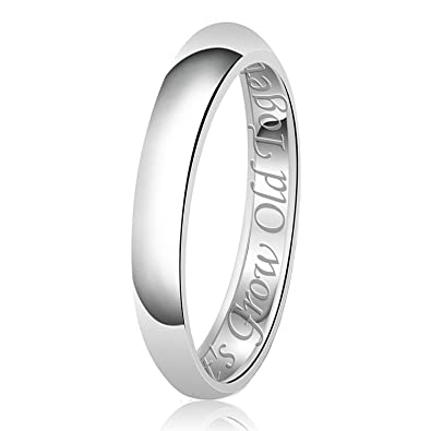 His Her Engraved Classic Sterling Silver Plain Wedding Band Ring