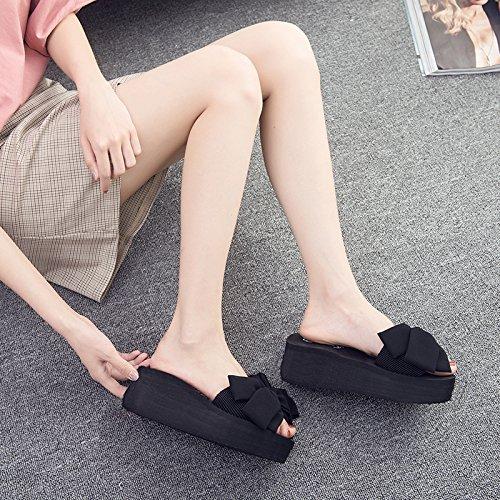 d'été Sweet de FLYRCX antique femme pour antidérapante Leisure Chaussures Nœud Chaussons F plage d'extérieur n1gEqg0wS