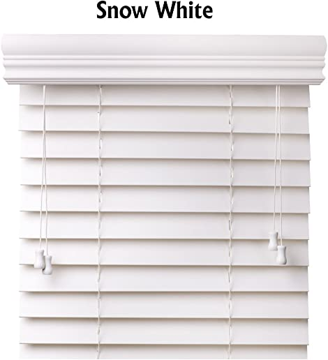Premium 2 inch faux wood blinds, Snow White, 72 x 60