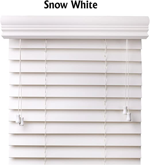 Amazon Com Cordless Blinds Snow White 2 Inches Faux Wood Horizontal Blinds Size 34 W X 60 H Home Kitchen