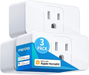 Meross Smart Plug Mini, 16A & Reliable WiFi, Support Apple HomeKit, Siri, Alexa, Echo, Google Assistant, Nest Hub, and SmartThings, App Control, Timer, No Hub Needed, 3 Pack