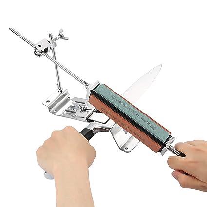 Tikitaka Afilador De Cuchillos Profesional Acero Inoxidable Kits de Afilador de Cocina de Ángulo Fijo Sistema 4 Piedras de afilar