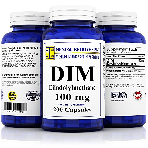 Mental Refreshment: DIM 100mg, 200 Capsules - (Diindolylmethane) (1 Bottle)