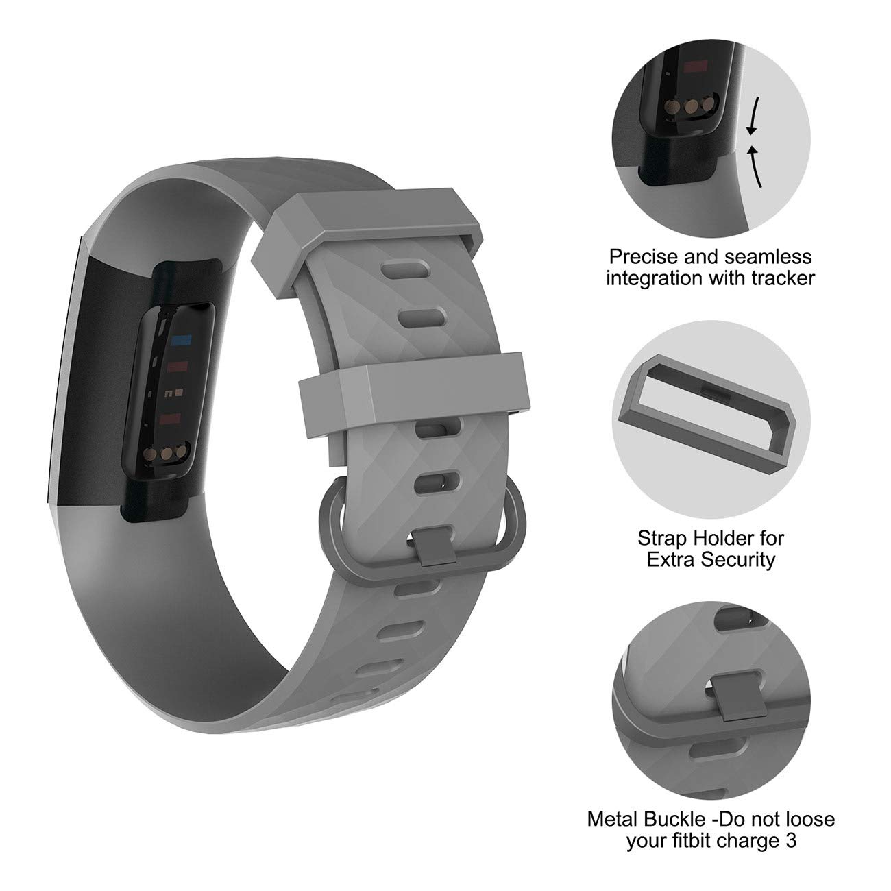 Adjustable Sport Wristbands for Women Men Small Large Velavior Replacement Bands Compatible Fitbit Charge 3 and Charge 3 SE