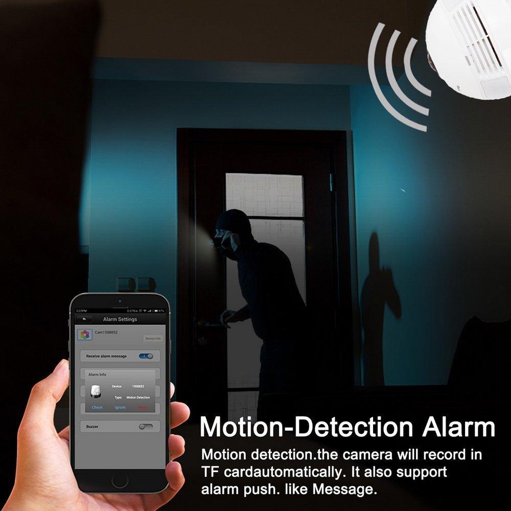 Cámara panorámica del IP de Fisheye del grado 360 °, cámara alejada de la visión nocturna de la visión nocturna del IR (0.3): Amazon.es: Iluminación