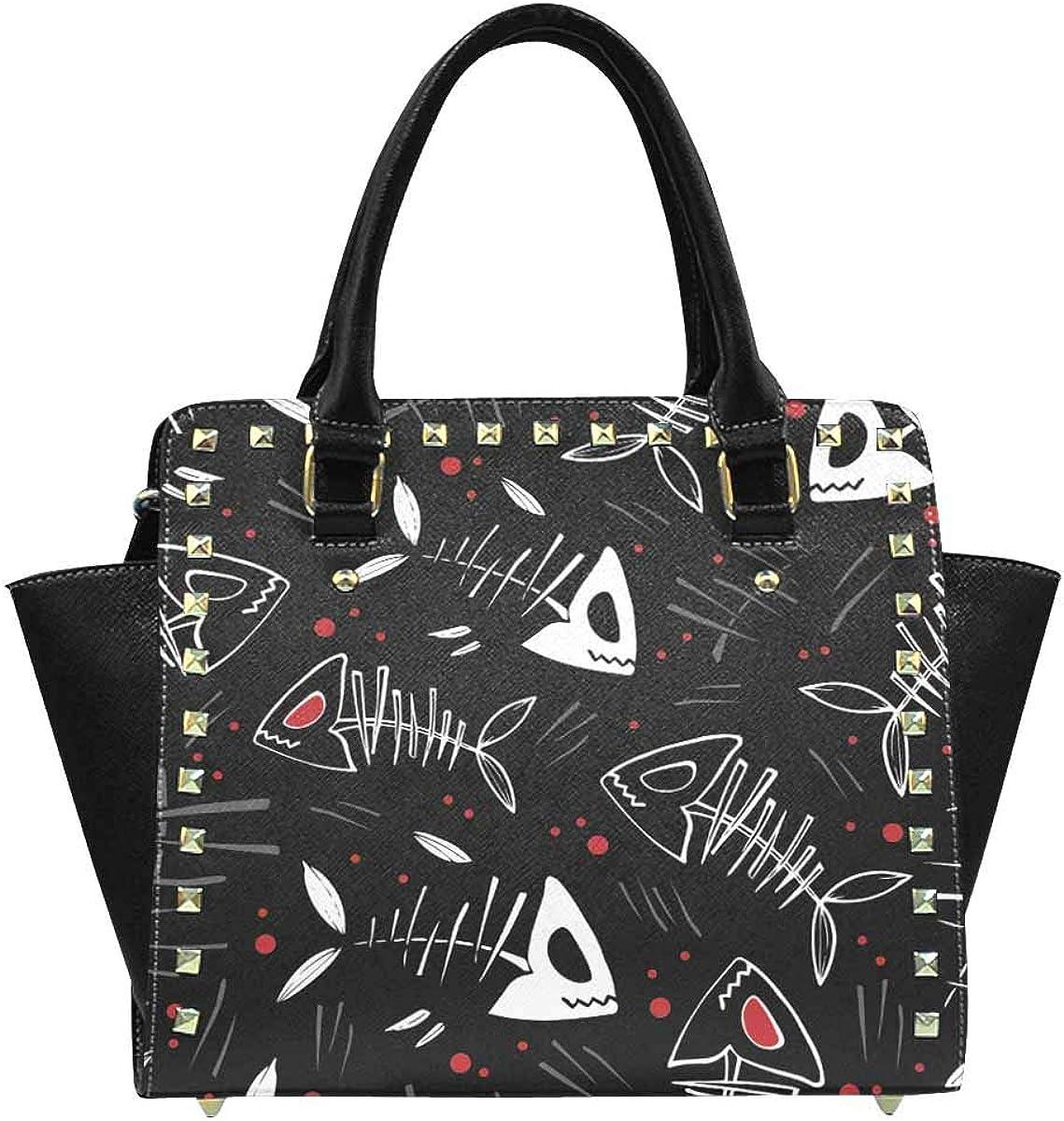 INTERESTPRINT Halloween Fish Bone Zip Tote Shoulder Handbag Hobo Crossbody Bag
