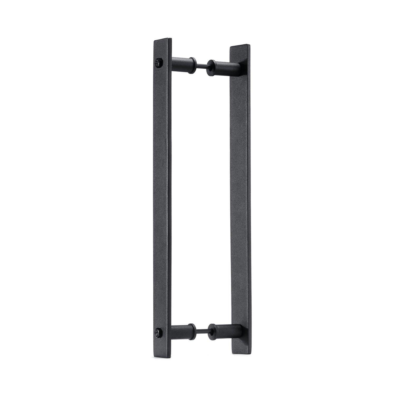 Toprema 14'' Steel Rustic Black Sliding Barn Door Handle Pull Wood Door Two-sided Flat Bar-to-Bar Handles Hardware