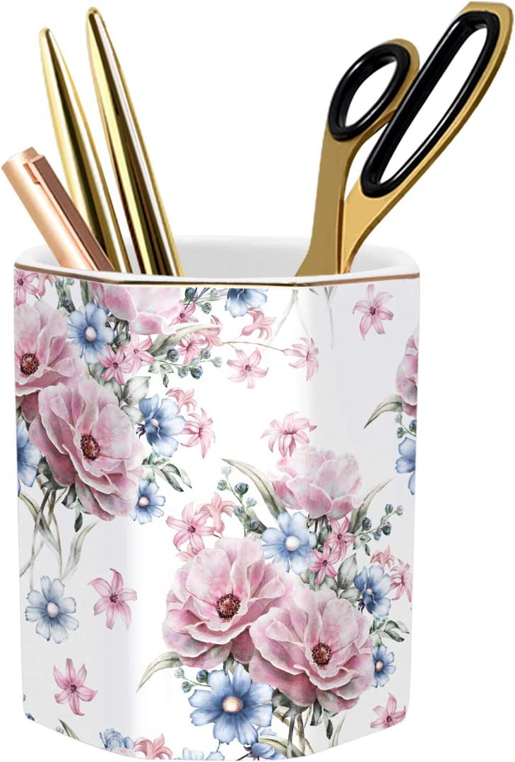 WAVEYU Pen Holder, Stand for Desk Pencil Cup for Girls Kids Durable Ceramic Desk Organizer Makeup Brush Holder Ideal Gift for Office, Classroom, Home, Flower