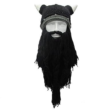 68abe54d8 Amazon.com: Men's Barbarian Vagabond Viking Beard Beanie Horn Hats ...