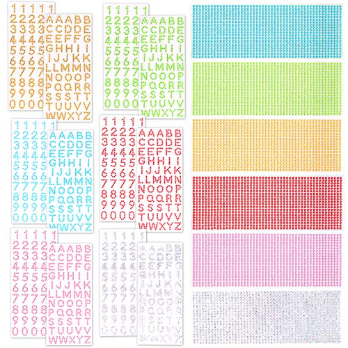 Jekkis 18 Sheets Glitter Alphabet Letter Sticker, Shiny Rhinestones Sticker Self Adhesive Alphabet Sticker for DIY Gift Decoration and Graduation Cap, 6 Colors