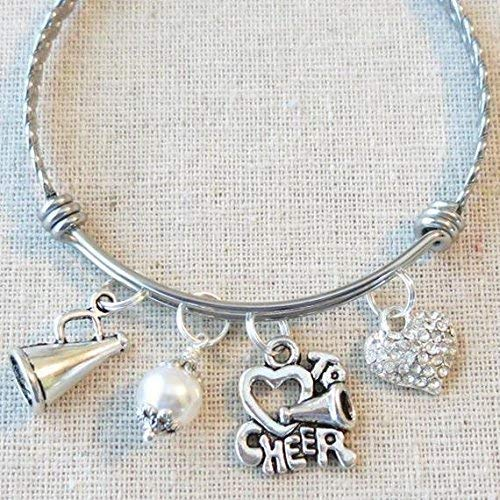 CHEERLEADING Team Gifts, SENIOR Cheer Bracelet, Cheer Coach Thank You Gift, CHEER Jewelry, Megaphone Charm, Cheer Team Gifts for $<!--$25.95-->
