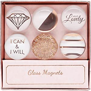 NatSumeBasics Rose Gold Fridge Magnets 6 Pack Round Glass Refrigerator Magnet Sticker, Use at Home Kitchen School Office for Refrigerator Dry Erase Board and Whiteboard Gift Idea (Rose Gold)