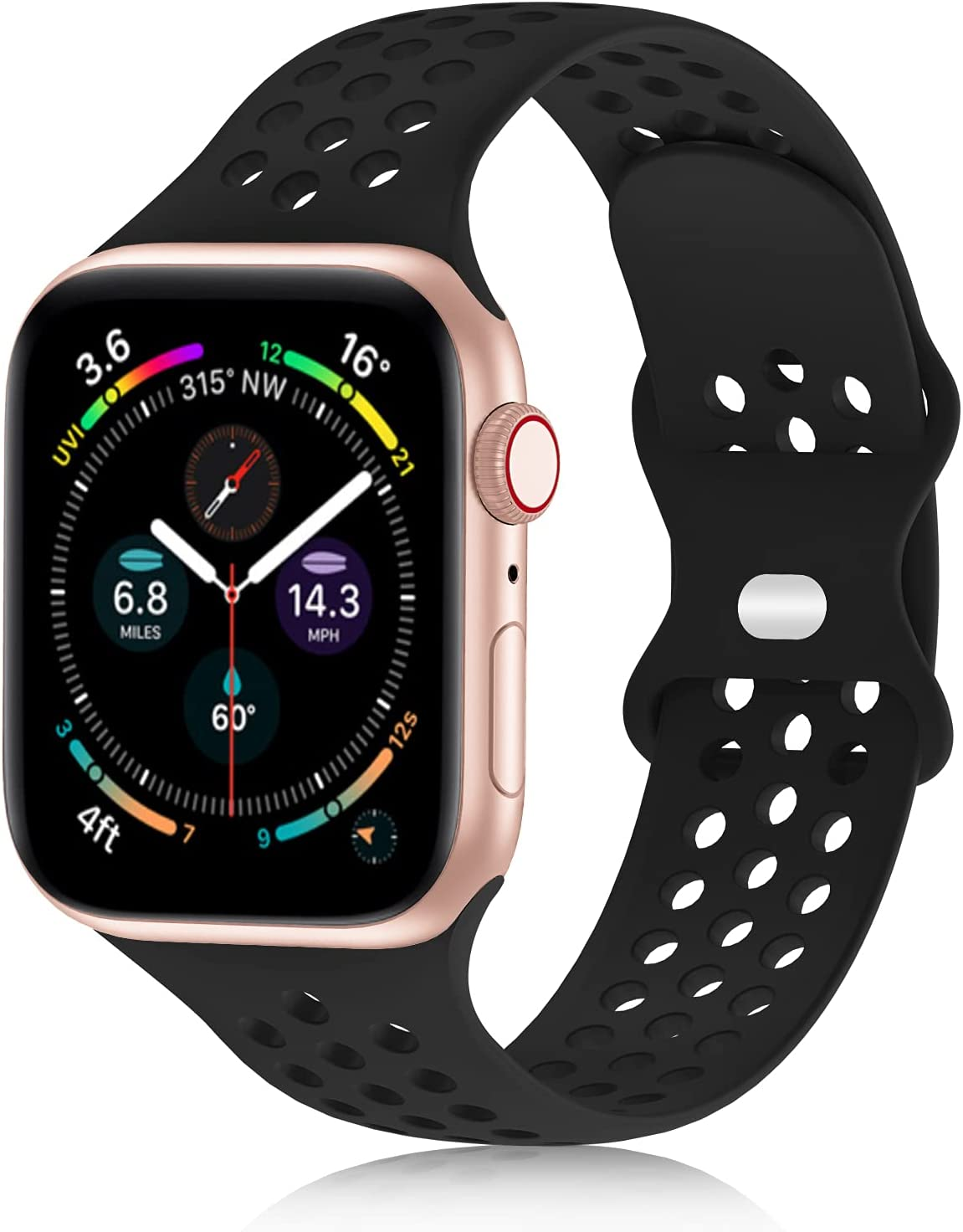 YAXIN Compatible with Apple Watch Band 38mm 40mm 42mm 44mm, Soft Silicone Sports Band iWatch Band Compatible for Apple Watch Series SE 6/5/4/3/2/1 Sport Edition, Replacement Strap for Women Men