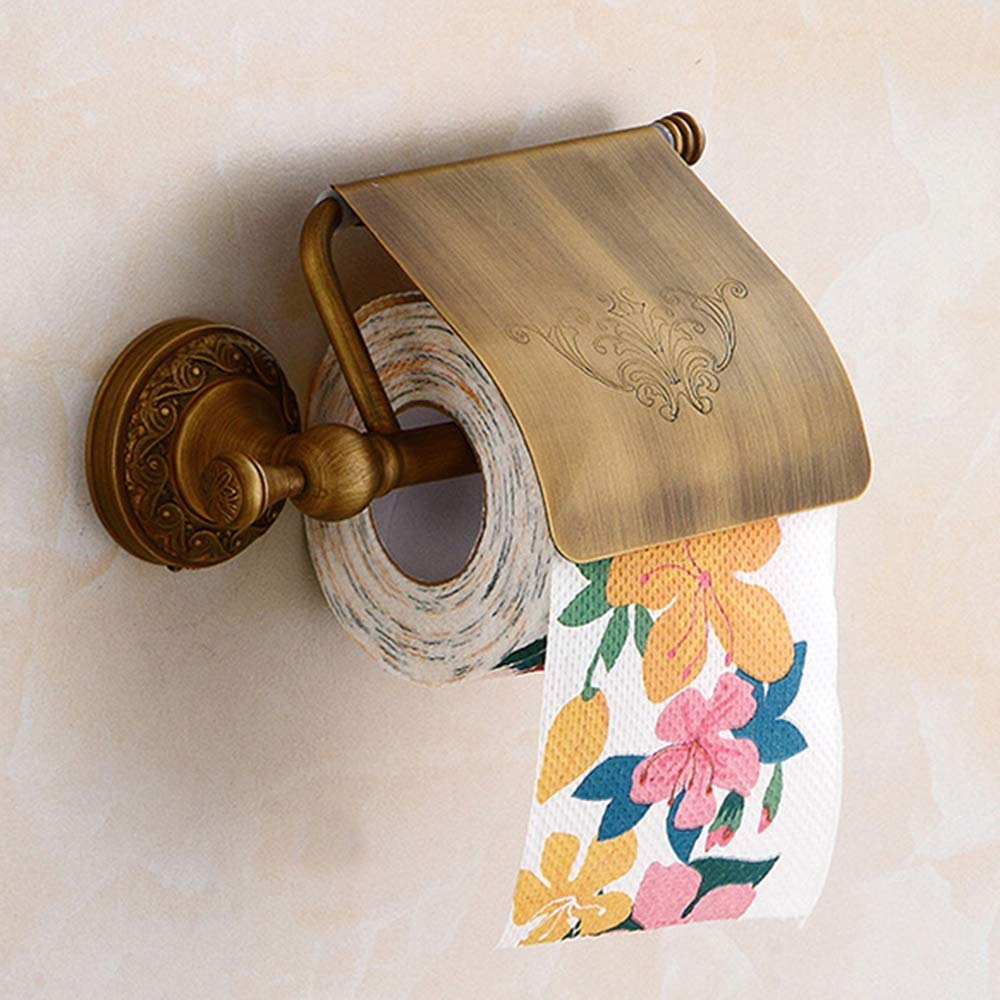 ERT Toilet Paper Holder,All Bronze Waterproof Closed Toilet Roll Holder Do Not Fade Corrosion Protection Thicken Roll Holder