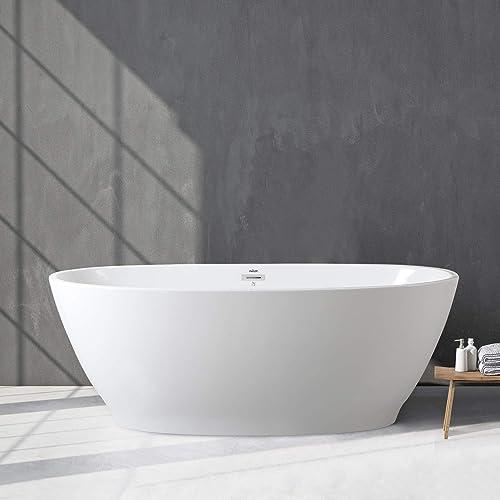 FerdY 65 Freestanding Bathtub Oval Freestanding Soaking Bathtub, 02576-65 Glossy White, cUPC Certified, Toe-Tap Drain Overflow Assembly Included