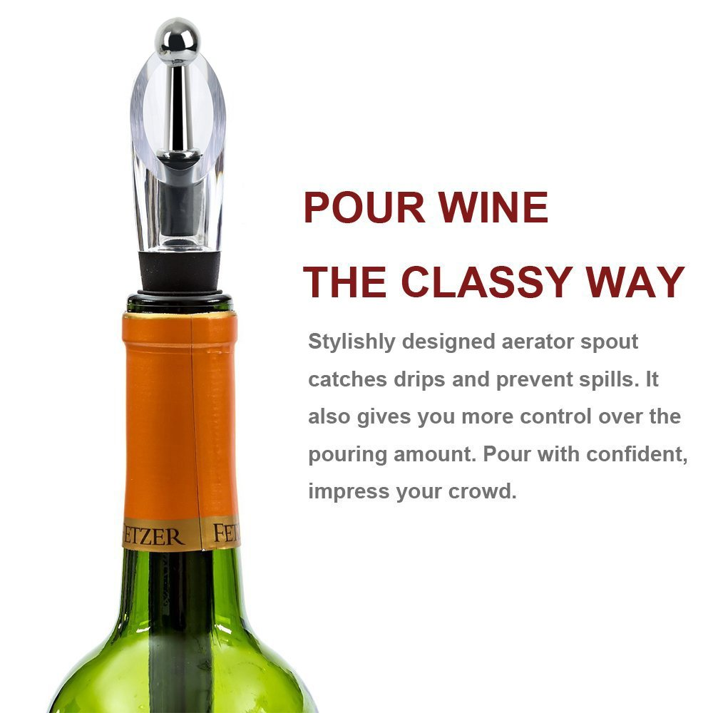 Firlar Wine Chiller Rod 4-in-1 18/8 304 Food-Safe Stainless Steel Wine Bottle Cooler Stick Freezer with Aerator and Pourer Decanter for Merlot Beer Whiskey Cocktails Grape