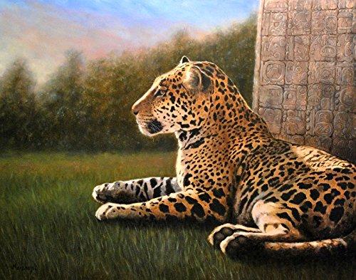 Jaguar Original Oil Painting Glyph by Linda Merchant, 11x14 inches Fine Art Hand Painted Oil Painting Wildlife Cat ooak
