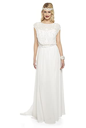 gatsbylady london Roselyn Vintage Inspired Prom Maxi Wedding Dress in Off White (US14 EU46)
