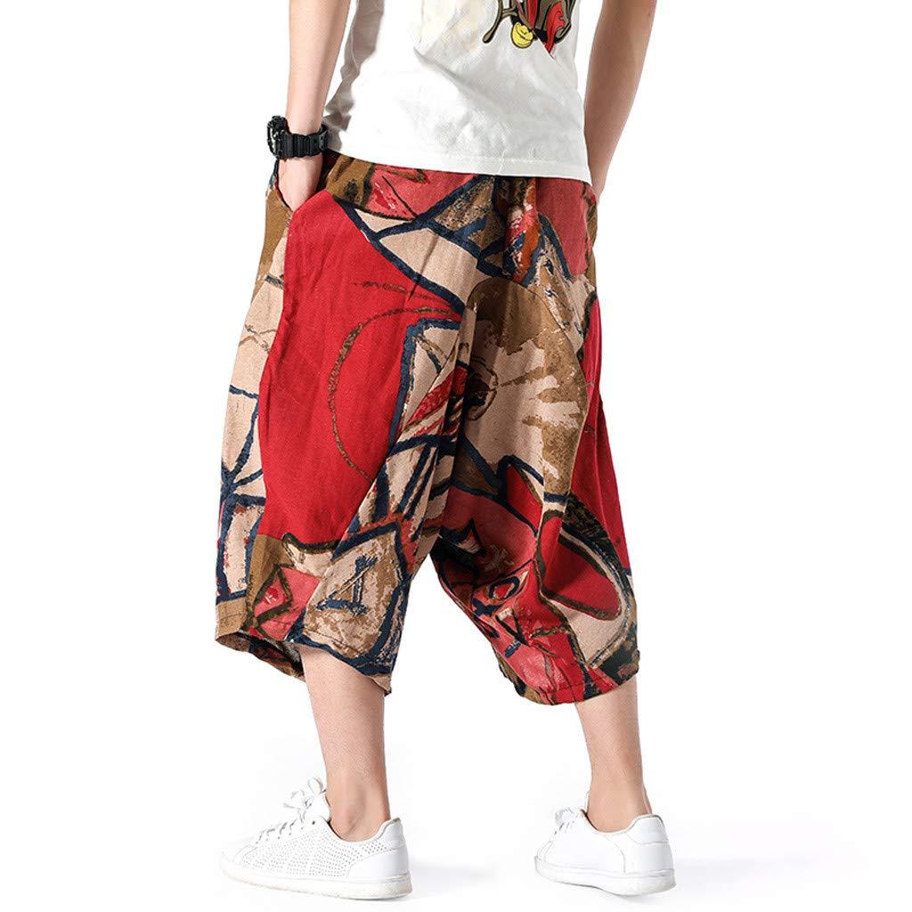 wodceeke Fashion Men's Printed Vintage Cotton Blends Linen Drop Crotch Jogging Harem Pants Yoga Trouser (L, Brown) by wodceeke (Image #3)