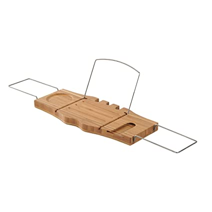 Amazon.com: HomCom Bathtub Caddy Tray w/Wine Glass Holder and Book ...
