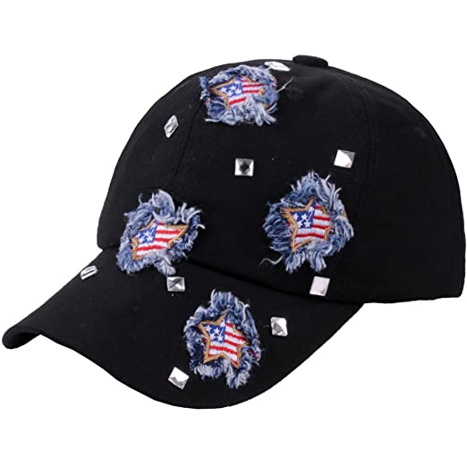 CRUOXIBB Black Baseball Cap USA Flag Denim Jean Cowboy Hat Rhinestone  Snapback Men Women (Black c9bddd2c75d
