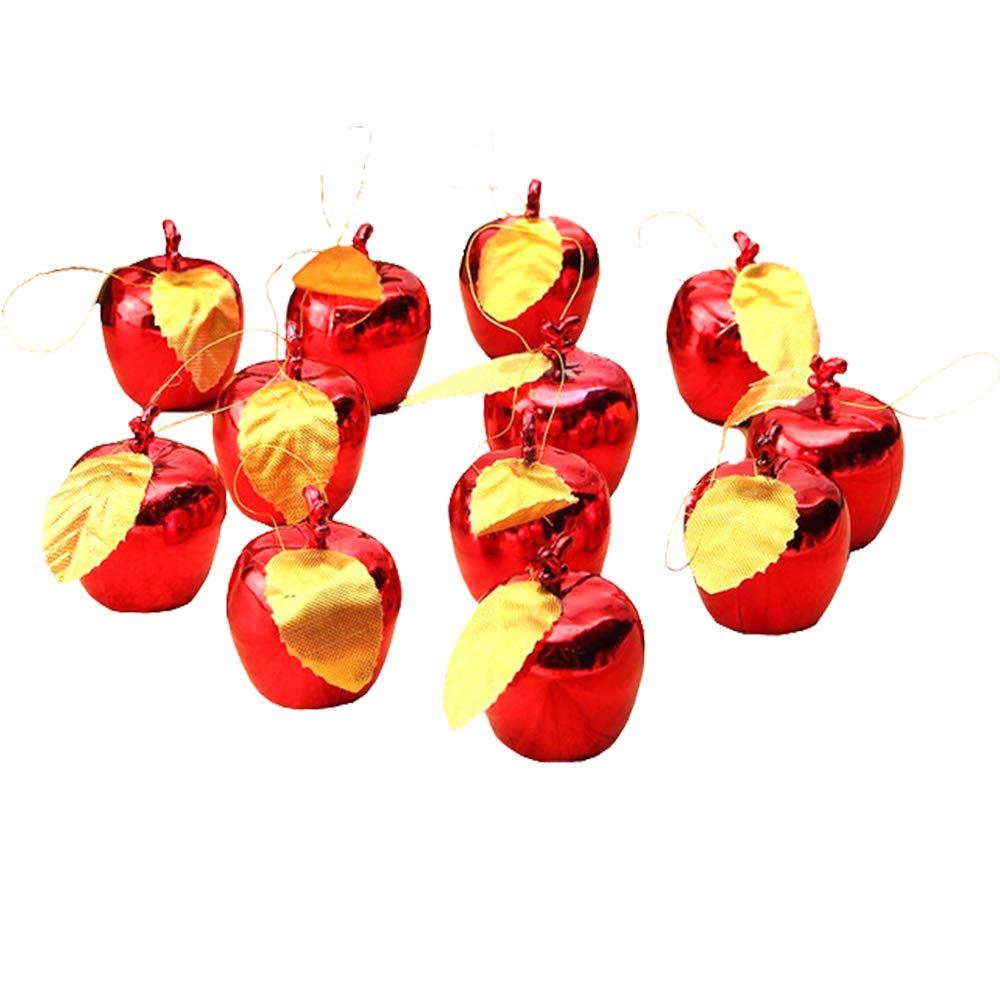 12pcs Mele placcate in Oro, Mele di Decorazione di Natale Albero Che appende Decorazione Anno Nuovo Partito Eventi Ciondolo di Frutta (Red) Amandy