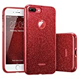 """iPhone 7 Plus Case, ESR Bling Glitter Sparkle Three Layer Shockproof Soft TPU Outer Cover + Hard PC Inner Protective Shell Skin for Apple 5.5"""" iPhone 7 Plus(Rose Red)"""