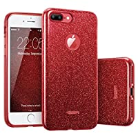 """ESR iPhone 7 Plus Case,Glitter Sparkle Bling Case [Three Layer] for Girls Women [Shock-Absorption] for 5.5"""" iPhone 7 Plus(2016 Release)(Red)"""