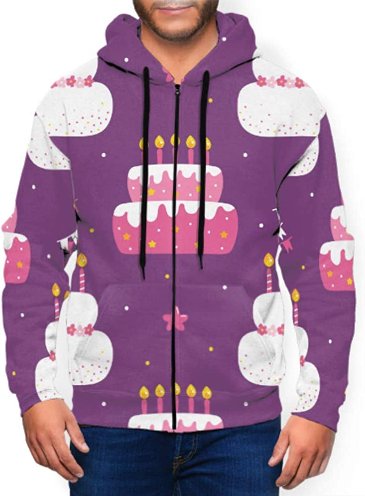 XDCGG Long Sleeve Hoodie Print Birthday Pattern Cakes Jacket Zipper Coat Fashion Mens Sweatshirt Full-Zip S-3xl