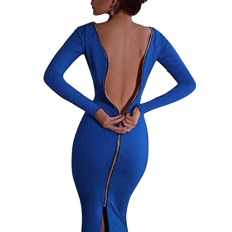 Leezeshaw Women Zip Back Bodycon Party Club Evening Splits Dress