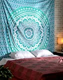 RAJRANG Turquoise Green Ombre Mandala Tapestry Teal Mint Hippie Wall Hanging Boho Bohemian Dorm Decor Indian Cotton Queen Bedding Bedspread