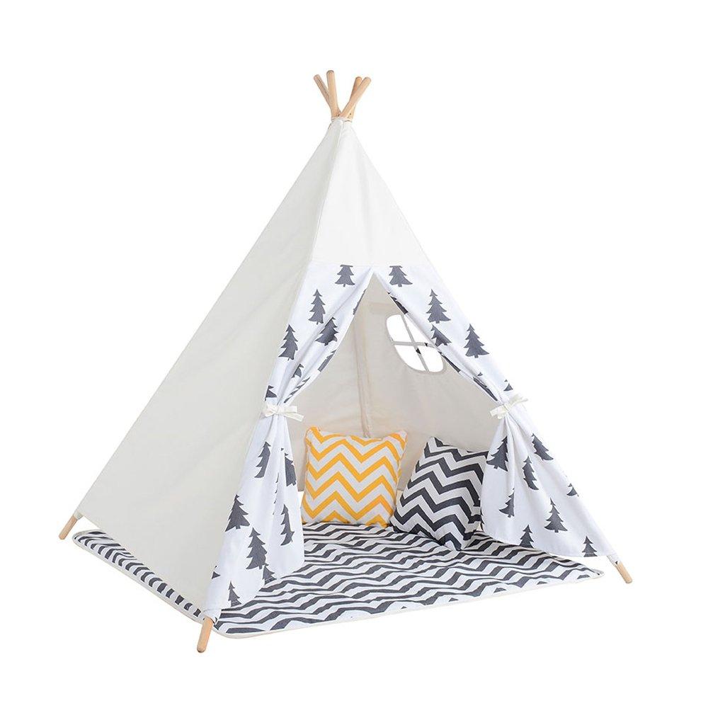 Wadwo Kinder-Spiel-Zelt-Größes blaues Baum-Muster-indisches Zelt Vier Ecken der Zelte Innenim freiengarten-Zelt (schließt Nicht Spielwaren und Verzierungen EIN) -by Virtper
