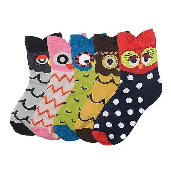 Yuccer Calcetines de Animales, 5 Pares Divertidos Calcetines de Algodón Linda Piso Calcetines de dibujos