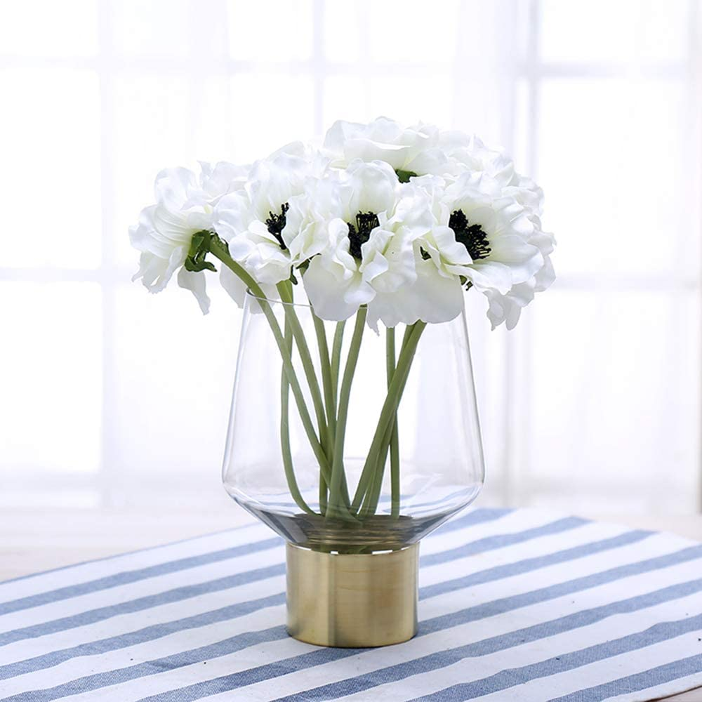 Amazon Com Cyl Home Vases Cylinder Clear Glass Flower Arrangement Vases Brass Gold Band Decor Dining Table Centerpieces Gifts For Wedding Housewarming Party 7 9 H X 4 9 D Home Kitchen