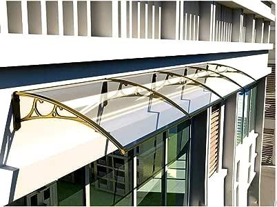 Tejadillo De Protección Marquesina Techo Puerta Exterior Toldo Extensible Policarbonato De Bajo Ruido Hoja De Protección De Lluvia Y Nieve con Soporte De Aluminio (Color : Clear, Size : 80x120cm): Amazon.es: Jardín