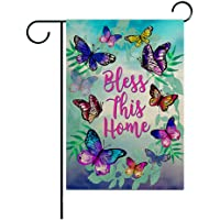 """Bless This Home Garden Flag 12.5""""x18"""",Double Sided Watercolor Butterfly Seasonal Outdoor flag Banner for Farmhouse Yard…"""