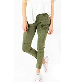 cd39b6e6531132 Grace and Lace Ladies Skinny Stretch Jeans Cargo Jeggings for Women Olive  Green