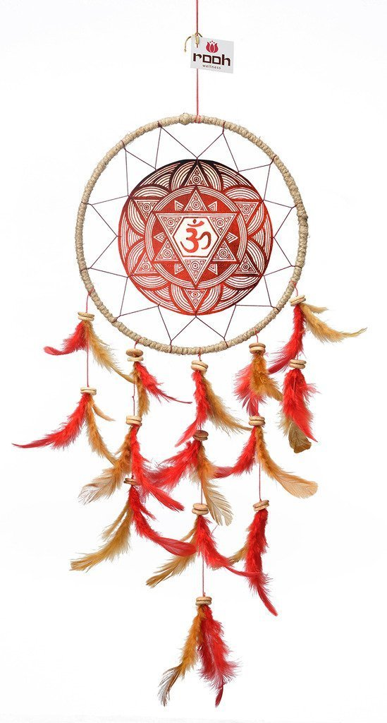 Rooh Dream Catcher ~ Canvas Om Maroon ~ handmade hangings for home Decor, Wall hangings, garden, car, outdoor, bedroom … (RED)