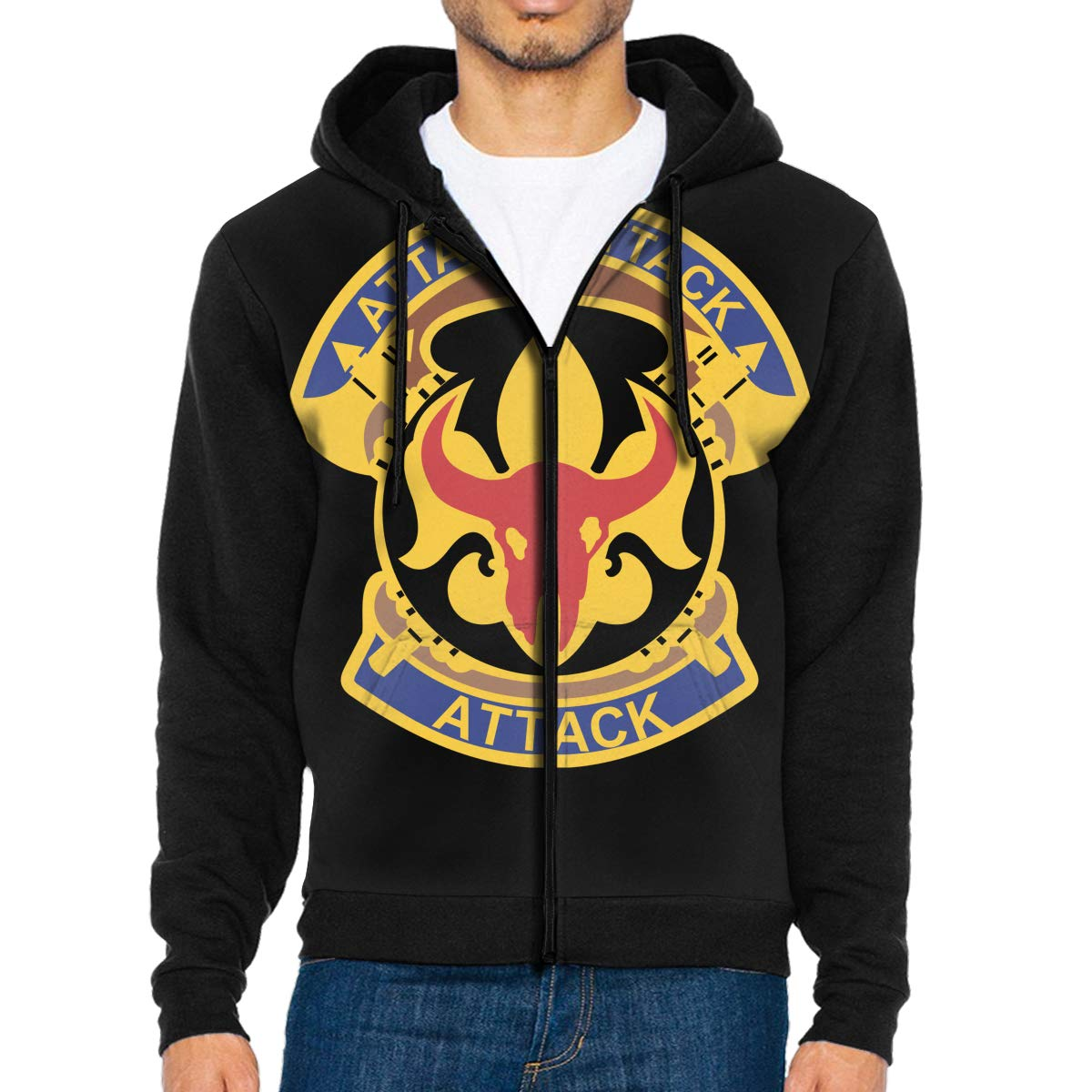 34th Infantry Division Band Mens Full-Zip Up Hoodie Jacket Pullover Sweatshirt
