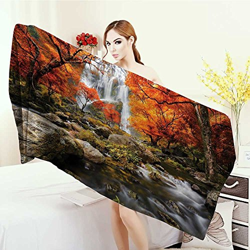Customized bath Towels Jungle Forest Decor Trees Decor Scenic Thai Waterfall and River Park in the Autumn Print fancy towels 63''x31.5'' by Anhounine