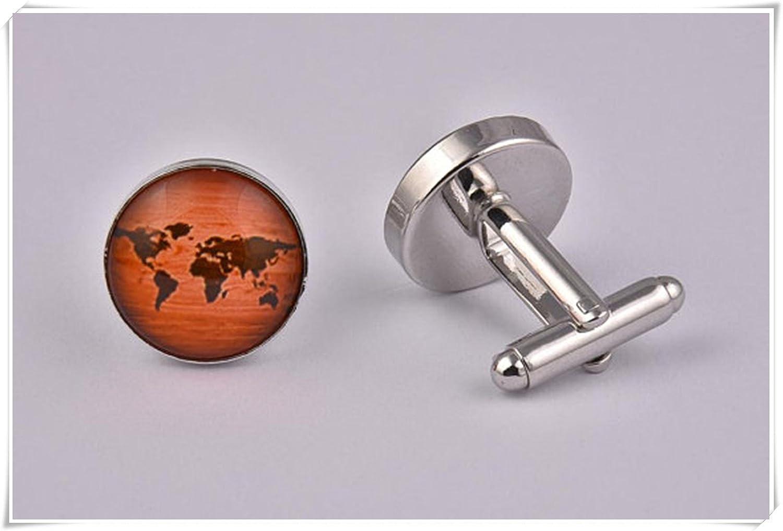 Leonid Meteor Douche en bois effet carte du monde, boutons de manchette, homme Boutons de manchettes populaire Boutons de manchette Pure, faite à la main Meteor Shower CE45